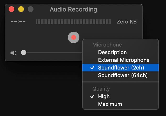 guida tutorial su come catturare o registrare audio di sistema in uscita di un computer mac e salvarlo in un file