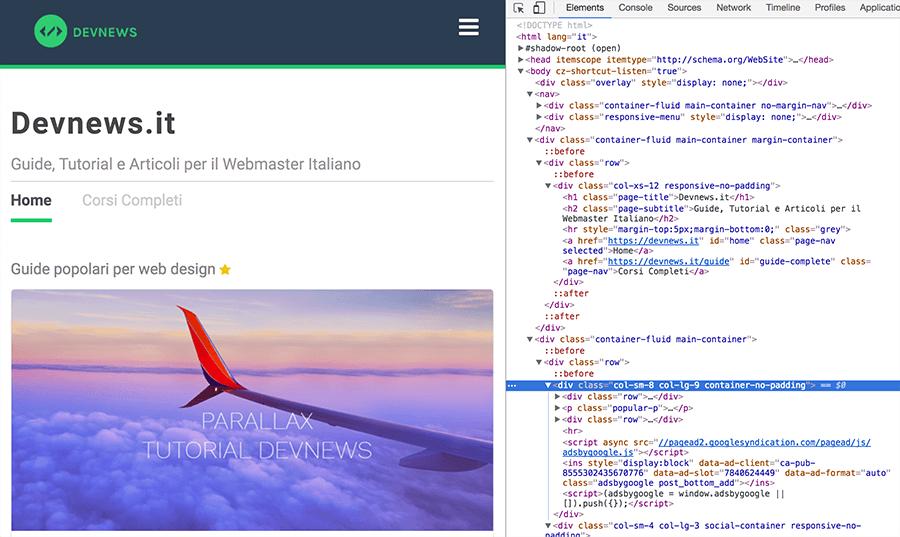 che cos'è il DOM nello sviluppo web come vedere il DOM con i developer tools