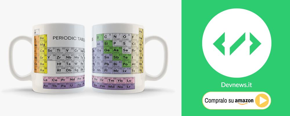 regalo di natale per nerd e chimici: tazza tavole periodica degli elementi