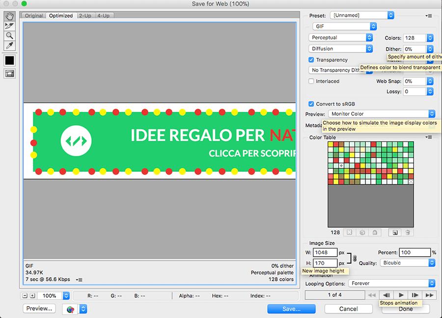 come creare un banner pubblicitario animato gif con photoshop per il mio sito web
