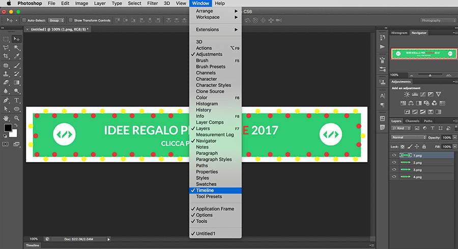 guida in italiano pe creare una gif con photoshop per un banner per un sito web
