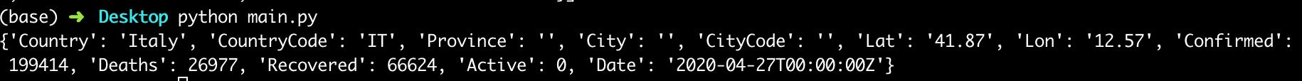 come ottenere dati coronavirus in formato JSON con python usando una API