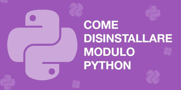 Guida web design italiano webmaster Come disinstallare un modulo Python con pip